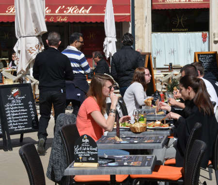 bourgogne: France, restaurant in the old and picturesque city of Beaune