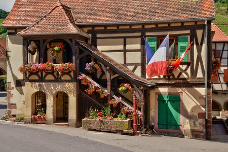 haut rhin: France, the picturesque city hall of Niedermorschwirh in alsace