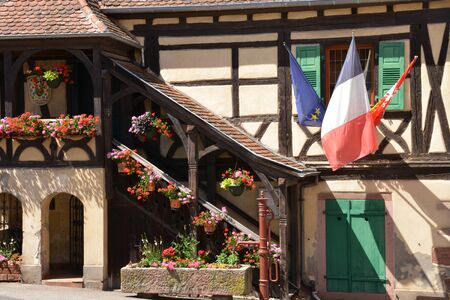 townhall: France, the picturesque city hall of Niedermorschwirh in alsace