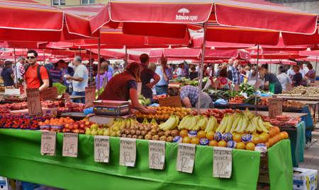 balkan: Croatia, the picturesque market of Zagreb in Balkan
