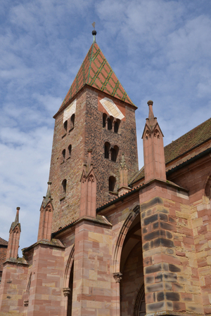 alsace: France, the picturesque pierre paul church of Wissembourg in Alsace