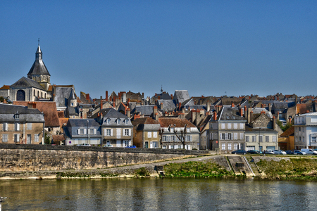 bourgogne: France, the picturesque city of La Charite sur Loire in Bourgogne