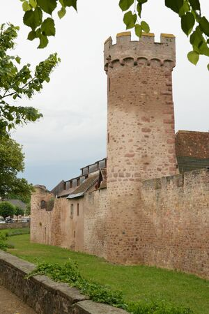 rampart: France, the picturesque rampart of  Obernai in alsace Editorial