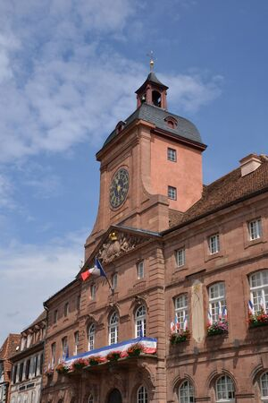 city hall: France, the picturesque city hall of Wissembourg in Alsace Editorial