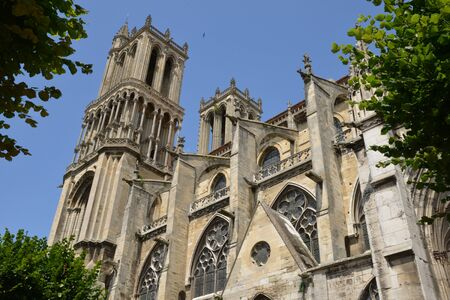 collegiate: Ile de France, the picturesque collegiate church of Mantes la Jolie Stock Photo