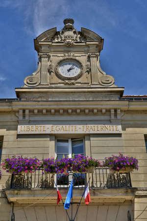 pontoise: Ile de France, the picturesque city hall of Pontoise Stock Photo