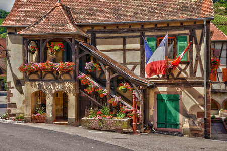 alsace: France, the picturesque city hall of Niedermorschwirh in alsace