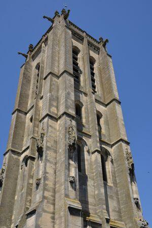ile de france: Ile de France, the picturesque church of Beaumont sur oise Stock Photo