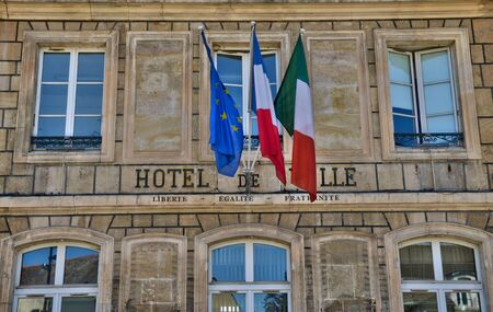 townhall: France, the picturesque city hall of Chambly in Picardie Stock Photo