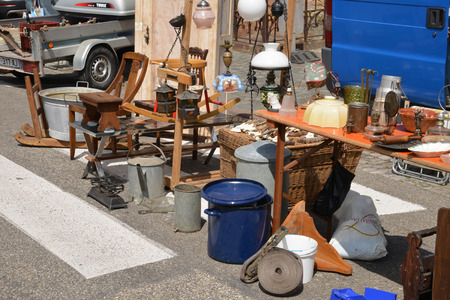 France, old objects on a flea market in the city of Wissembourg in Alsace Editorial