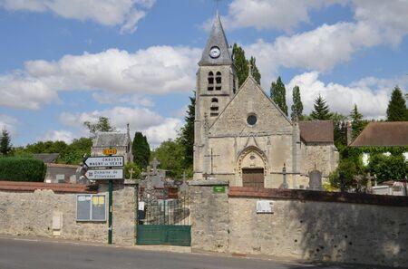 ile de france: Ile de France, the picturesque church of Villers en Arthies Stock Photo