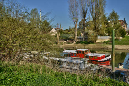 barge: Ile de France, barge in the picturesque city of Poissy Stock Photo