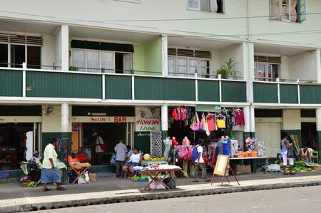 lucia: the picturesque market of Castries in Saint Lucia in caribbean
