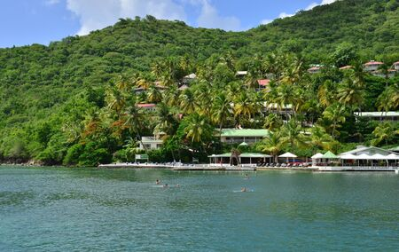 lucia: the picturesque Marigot Bay in the island of Saint Lucia in caribbean