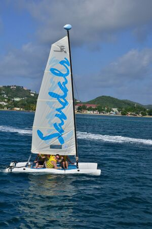 lucia: the picturesque east coast of the island of Saint Lucia in caribbean Editorial