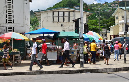 lucia:   market of Castries in Saint Lucia in caribbean