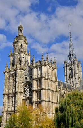 Haute Normandie, the picturesque cathedral of Evreux Stok Fotoğraf