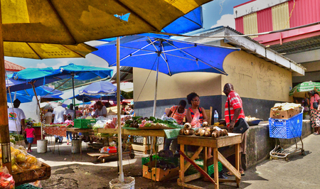 touristy: the picturesque market of Castries in Saint Lucia in caribbean
