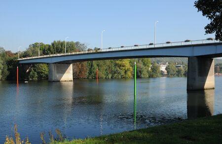 ile de france: Ile de France, the bridge between Les Mureaux and Meulan Editorial