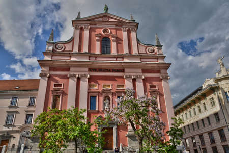 ljubljana: Slovenia, the picturesque and historical Franciscan Church of the Annunciation of Ljubljana