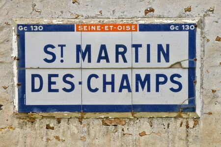 martin: Ile de France, road sign in the village of Saint Martin des Champs Editorial
