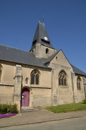 en: France, the picturesque church of Boury en Vexin in Oise