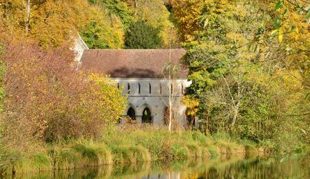 fontaine: France, the picturesque Fontaine Guerard abbey in Radepont in Normandie