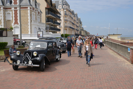 traction: France may 24 2015, old car show in the picturesque city of Cabourg in summer Editorial