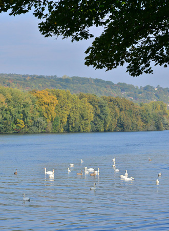 ile de france: Ile de France, the picturesque riverbank of Seine in Meulan Stock Photo
