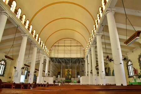 pierre: Martinique, the picturesque cathedral of Saint Pierre in West Indies