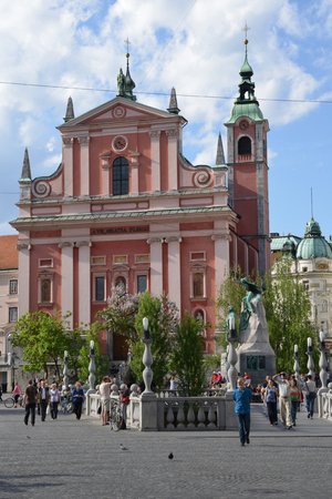 annunciation: Slovenia, the picturesque and historical Franciscan Church of the Annunciation of Ljubljana