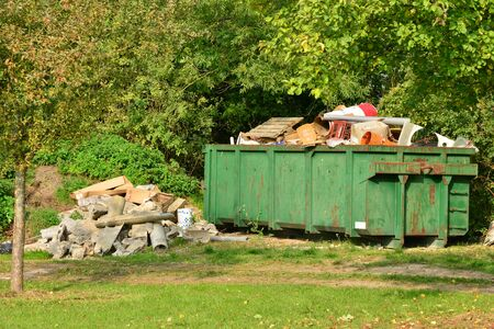 clair: Ile de France, waste in a skip in the village of Saint Clair sur Epte