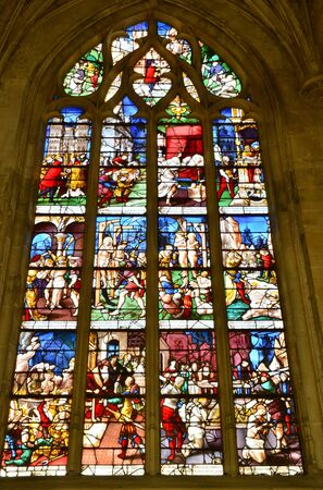 collegiate: France, close up of stained glass window of collegiate church of Gisors in Normandie