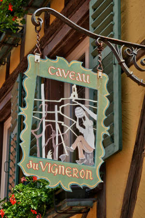haut rhin: France, wine shop sign in the city of Turckheim in alsace