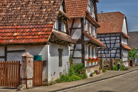 France, the picturesque village of Hunspach in alsace