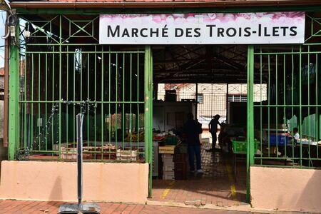 les: Martinique, the picturesque covered market of Les Les trois Ilets Editorial