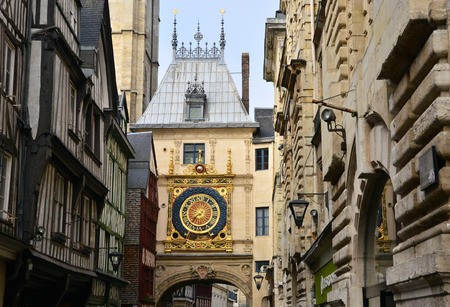 Normandie; the picturesque Gros Horloge of Rouen in Seine Maritime