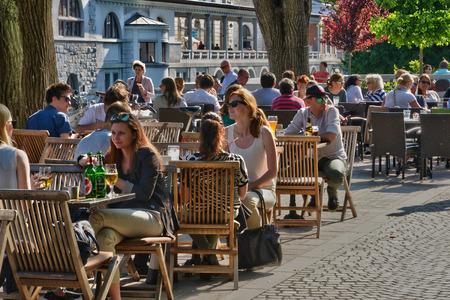 ljubljana: Slovenia, bar in the picturesque and historical city of Ljubljana