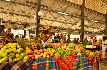 indies: Martinique, the picturesque covered market of Fort de France in West Indies