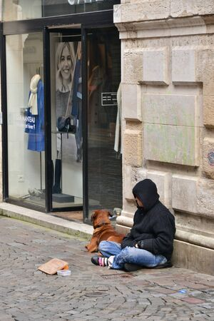 penury: Normandie, an homeless person in the city of Rouen in Seine Maritime Editorial