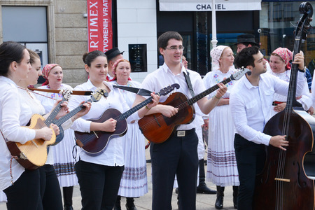 the balkan: Croatia, traditional singer in thecity of Zagreb in Balkan