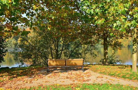 riverside trees: Ile de France, the picturesque village of Les Mureaux Stock Photo