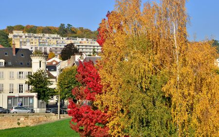landscape riverside: Ile de France, the picturesque Seine riverside in the city of Meulan en Yvelines