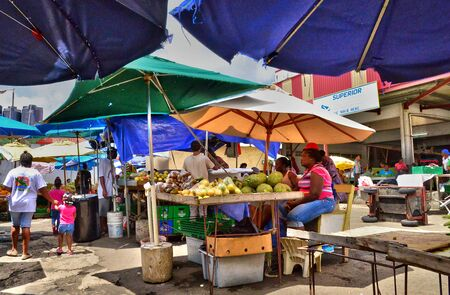 picturesque: the picturesque market of Castries in Saint Lucia in caribbean