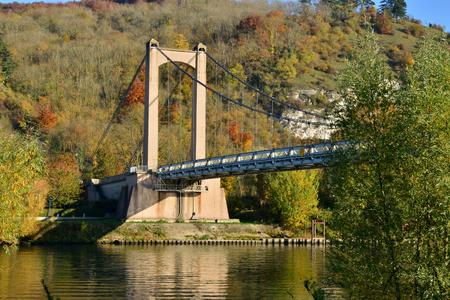 les: France, suspension bridge in the picturesque city of Les Andelys Stock Photo