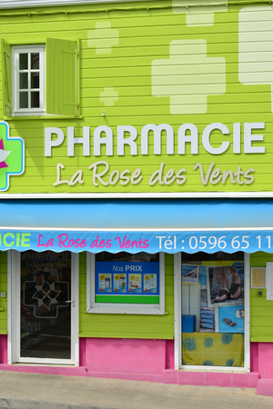 indies: Martinique, the picturesque pharmacy of Le Robert in West Indies