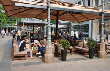 balkan: Croatia, bar in the picturesque city of Zagreb in Balkan