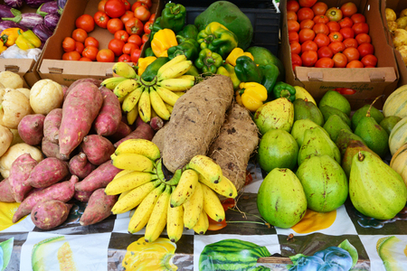 Martinique, the picturesque market of Le Robert in West Indies