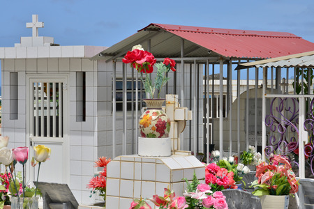 indies: Martinique, the picturesque cemetery of Sainte Anne in West Indies