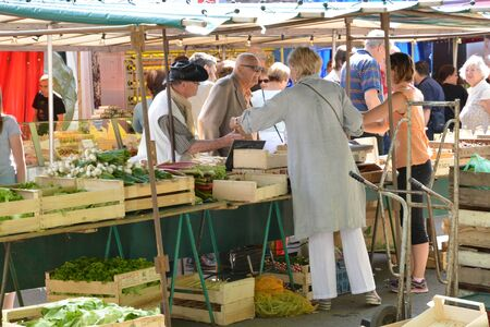 seine: Ile de France, the picturesque market of Verneuil sur Seine Editorial